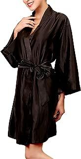 onlypuff Silk Robe Women's Satin Bathrobes Kimono Robes Oblique V-Neck Solid Color