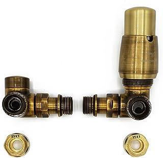 Derecho Versión con Accesorios Cobre (Cu) Latón Antiguo Termostático + Lockshield Angular Conjunto de Válvulas Radiador Doble Tubo