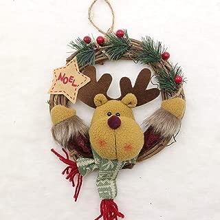 QYLLXSYY 1 Pcs New Christmas Wreath Door Hanging Wreath Santa Snowman Deer Wood Rattan Circle Pendant Christmas Decorations 6 Colors Christmas Tree (Color : C)