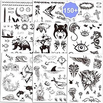 Konsait Temporary Tattoos for Adult Men Women Kids 150+pcs  Black Totem Fake Tattoos Tribal Tattoo Stickers Set Body Art Face Hand Arm Chest Tattoos Skull Bull Head Mamba Snake Wolf Rabbit Cross Owl
