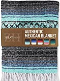 Zulay Home Authentic Mexican Blankets - Hand Woven Yoga Blanket & Outdoor Blanket - Artisanal Boho Blanket & Car Blanket for Beach, Picnic, Camping, or Home Throw Blanket (Gray Blue Emerald)