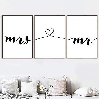 Decoración nórdica para el hogar Mr and Miss Canvas Painting Love Wall Art Cuadros simples Pintura para carteles e impresi...