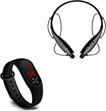 Techfire Neckband Bluetooth Headset with Mic and Big Screen Unisex Silicone Digital LED Bracelet Band