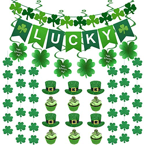 77PCS St Patricks Day Decorations Kit, Felt Shamrock 'LUCKY' Banner with Irish Shamrock Saint Patricks Day Decorations Hanging Swirls Garland Hats Cupcake Toppers for St Patrick's Day Party Favors