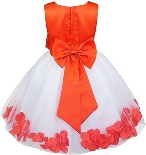 2e6b182f1a9 TiaoBug Kids Bowknot Petals Flower Girl Dress Princess Wedding Pageant  Christening Gown Formal Party Dress