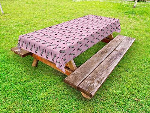 ABAKUHAUS retro Tafelkleed voor Buitengebruik, Sier bloeit Patroon, Decoratief Wasbaar Tafelkleed voor Picknicktafel, 58 x 84 cm, Baby Pink Gray