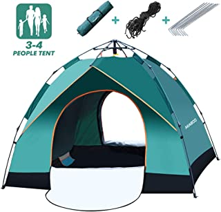 MIABOO Camping Tent, 3-4 Person Family Beach Tent, Windbreak Automatic Pop Up Anti-UV Protection Backpacking Tent Carry Bag Included