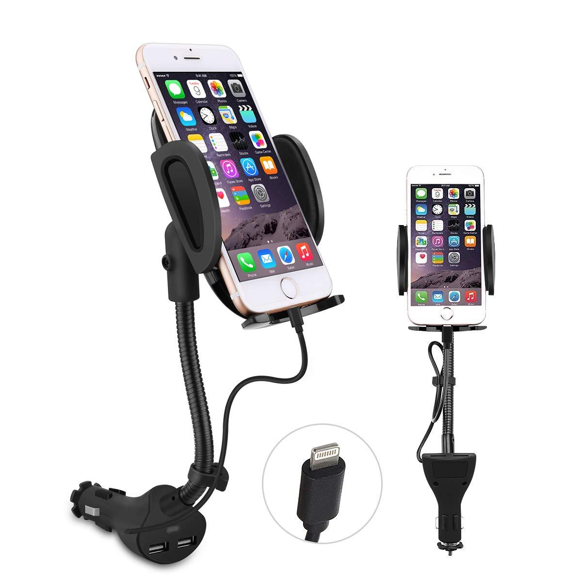 Te-Rich - Cargador de Coche para teléfono móvil (Puerto USB Doble, 3,1 A) con Cable de Carga Integrado para Smartphones: Amazon.es: Electrónica