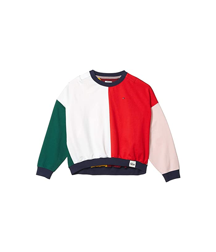 Tommy Hilfiger Adaptive  Color Block Long Sleeve T-Shirt (Bright White/Racing Red/Multi) Womens Clothing