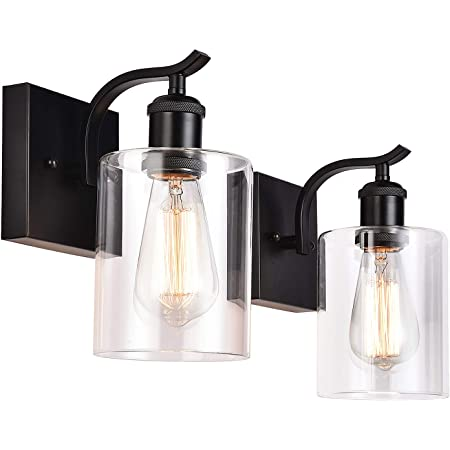 Cuaulans 2 Pack Modern Industrial Farmhouse Black Wall Sconce, Indoor Clear Glass Shade Vanity Light Fixtures for Bathroom Bedroom Living Room Hallway Stairwell Wall Mount