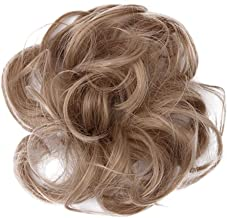 JIJIKOKO Easy-To-Wear Stylish Hair Scrunchies Wavy Straight Hair Bun Messy Elastic Chignons Synthetic Hair Piece Women Girls Hair Circle Hair Bun Extension (E)