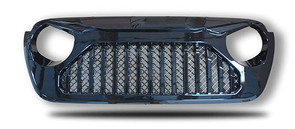 Front Grill for Jeep Wrangler JL | 2018 2019 | Angry Eyes Glossy Black Skull | by JX Accessories