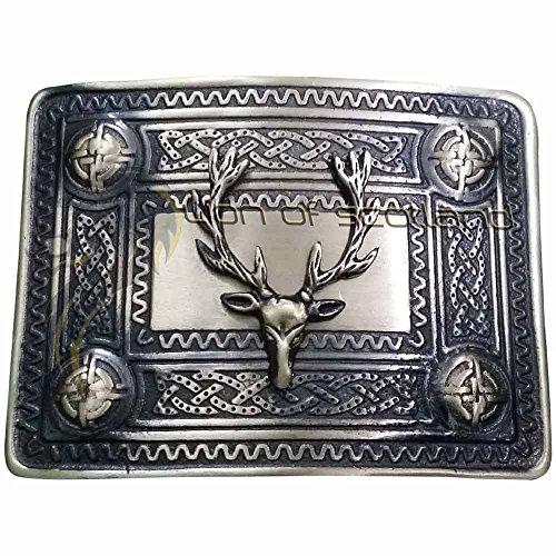 Men's Scottish Kilt Belt Buckle Stag Head Antique Finish/Highland Celtic 4 Demo Buckles Chrome (Antique Finish)