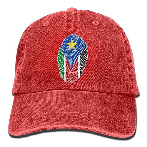 Ahdyr Gorra de béisbol Unisex Sombrero de Mezclilla Bandera de Sudán del Sur Huella Digital Ajustable Snapback Hiphop Cap-Rojo