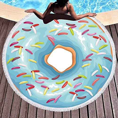 Manta de Playa con Borde de Borla Redonda Grande, Toalla de Playa con Estampado de Donut Azul, Toallas de Playa Redondas de Microfibra para Sala de es