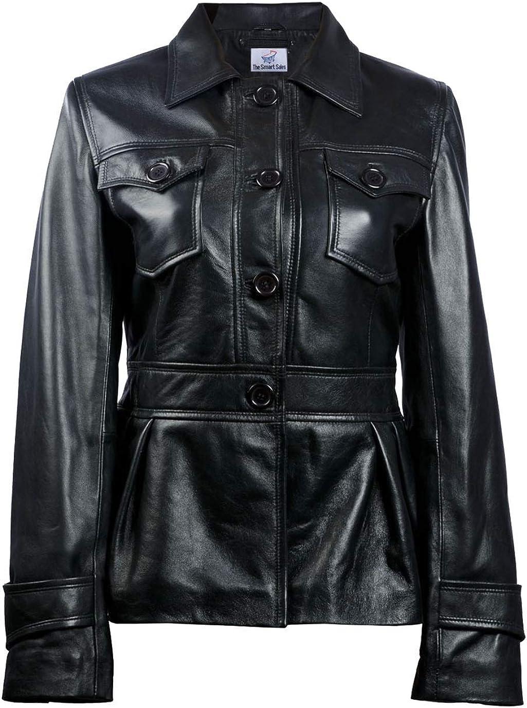 TheSmartSales Metropolis Black Womens Leather Blazer PU Leather Jacket