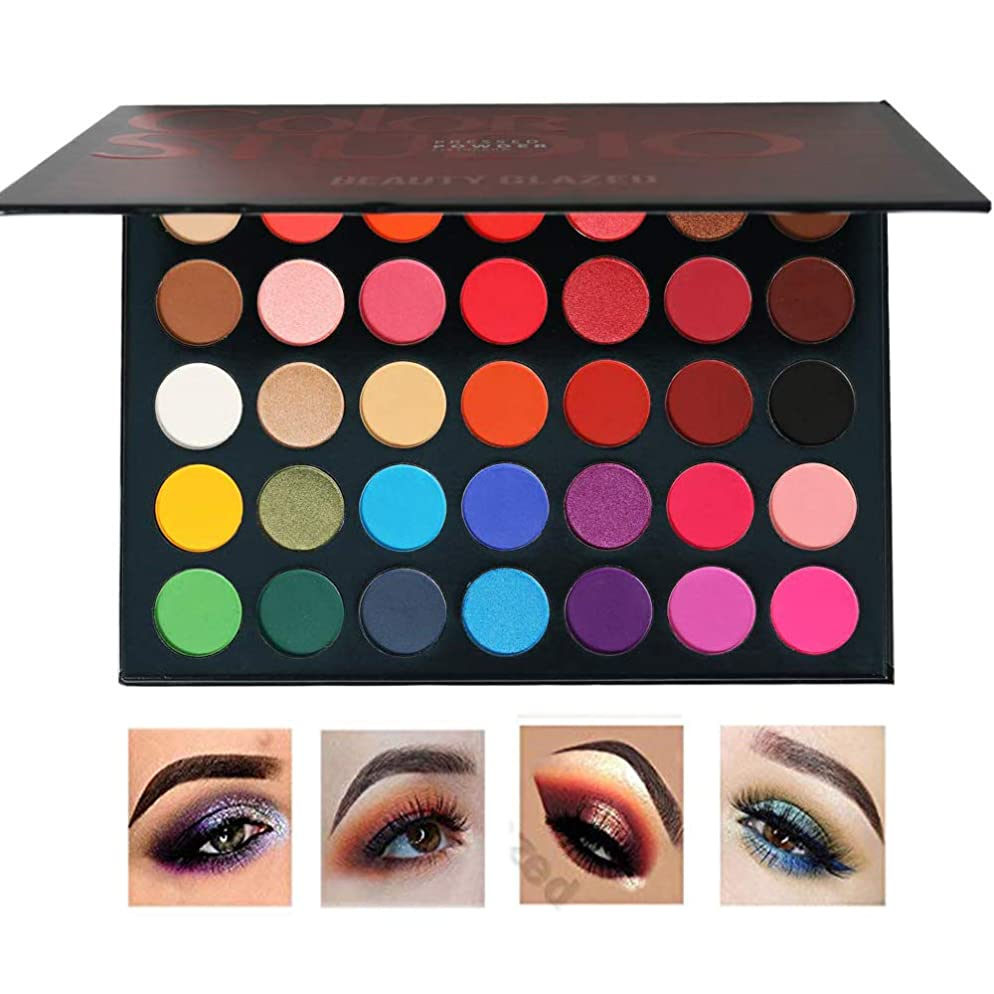 Beauty Glazed Matte and Shimmer Eyeshadow Make up Palettes 35 Colors Professional and Home Make up Big Palette Highly Pigmented Blendable Pressed Powder Eye shadow