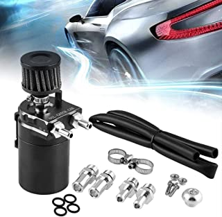 RuienUniversal 350ml Oil Catch Can Tank with Breather Aluminum Compact Dual Cylinder Polish Baffled Engine Air Oil Separator Tank Reservoir Kit Black