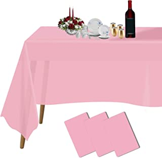 """رومیزی پلاستیکی برای جداول مستطیل 3 بسته 54 """"x 108"""" میز سفره ای یکبار مصرف برای میزهای 6 تا 8 پایی یک طرفه در فضای مجاور یا خارج از منزل ، جشن تولد عروسی های سالگرد کریسمس بوفه (صورتی)"""