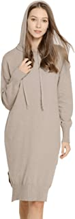 Womens Hoody Cashmere Wool Hooded Long Pullover Sweater with Ribbon Cuff and Side Split Hem