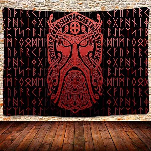 Yhjdcc Tapiz de cuervo vikingo, símbolo de la edad vikinga, tapiz nórdico de guerrero nórdico, símbolo vikingo para colgar para dormitorio, sala de estar, hogar, 150 cm x 200 cm