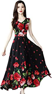 KYLEON Women's Elegant Floral Printed Long Short Sleeve Crew Neck Maxi Dress Vintage Casual Summer Swing Party Long Dress