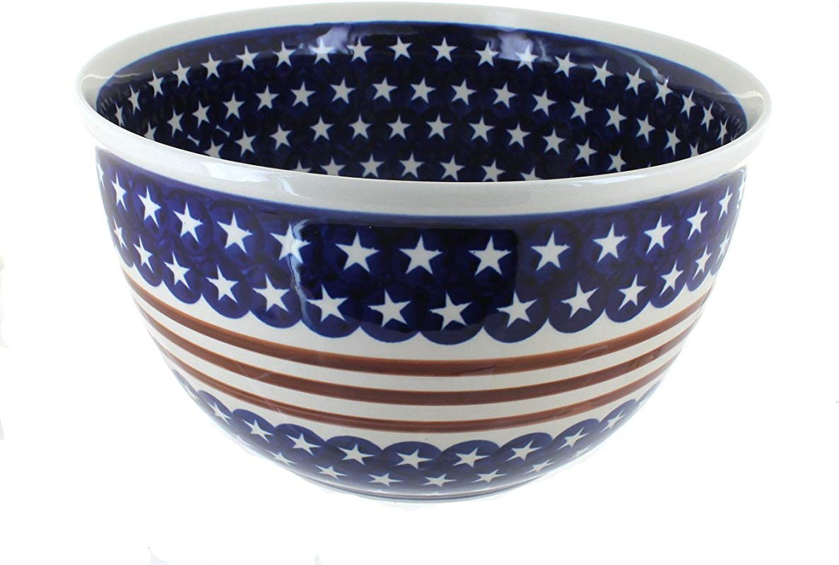 Polish Pottery Stars Stripes Extra Large Party Bowl
