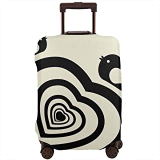 Travel Luggage Cover,Romantic Spiral Stripe With Wild Bird Silhouettes Feminine Suitcase Protector