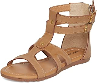 Marc Loire Women Gladiator Ankle Strap Flats, Girls Party Shoes Flats, Open Toe Fashion Sandals with Zip Closure - Synthetic, Tan