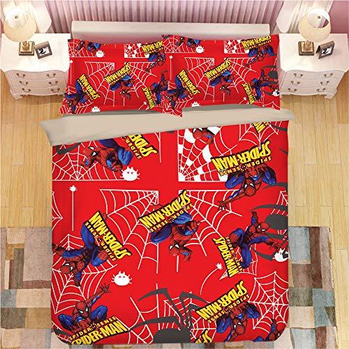 KYNWCLRW Super Soft Duvet Set, 3D Digital Print Spider-Man Pillow Cover, Premium Polyester-Cotton Soft Smoothduvet Cover And Pillowcase Set, For Teen (220X240Cm)