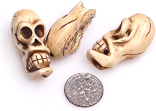 Frederick A. Farley Natural Carved Bone Beads for Jewelry Making DIY 19x33mm Big Hole 1.2mm Yellow Skull 3 pcs