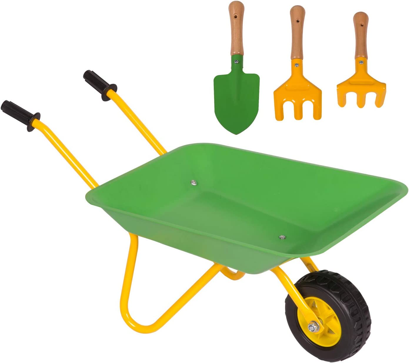 KINTNESS Kids Wheelbarrow Outdoor Kids Toy Wheelbarrow Play Tool for for Boys and Girls Metal Construction Toys Kart w/Steel Tray and Rubber Hand Grips : Toys & Games