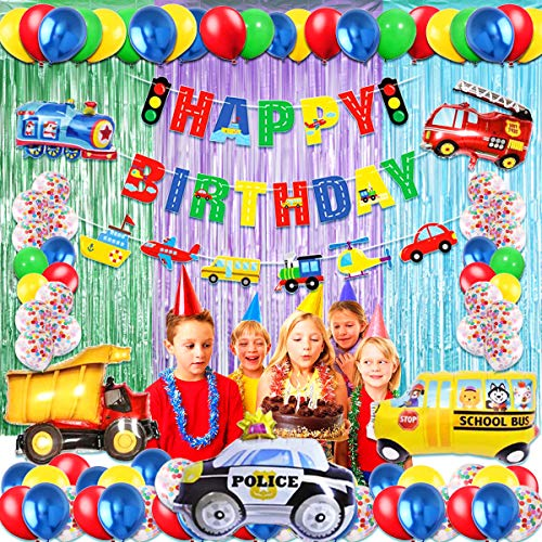 Transportation Birthday Party Decoration Kit-Train Police Car School Bus Fire Truck Vehicles Balloons for Girls and Boys Birthday Party Supplies Baby Shower Decorations