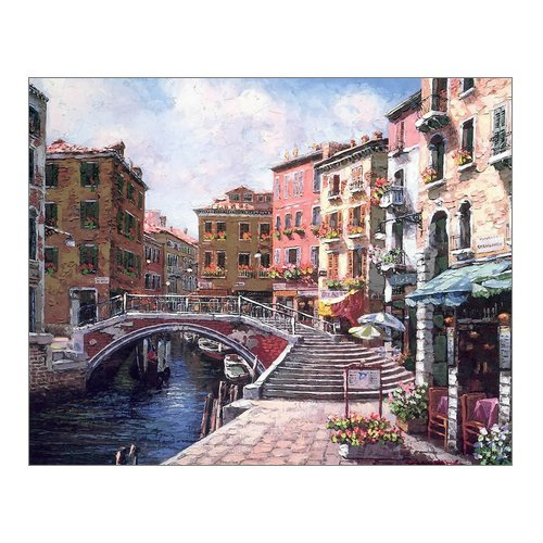 "Creative Modern Art Print Watercolor Painting Venice Italy Color Rich Retro Style town Canvas Print Wall Art 10"" x 8"" Inch, Stretched and Framed Home Decor Wall Living room Office Canvas Art Wall"