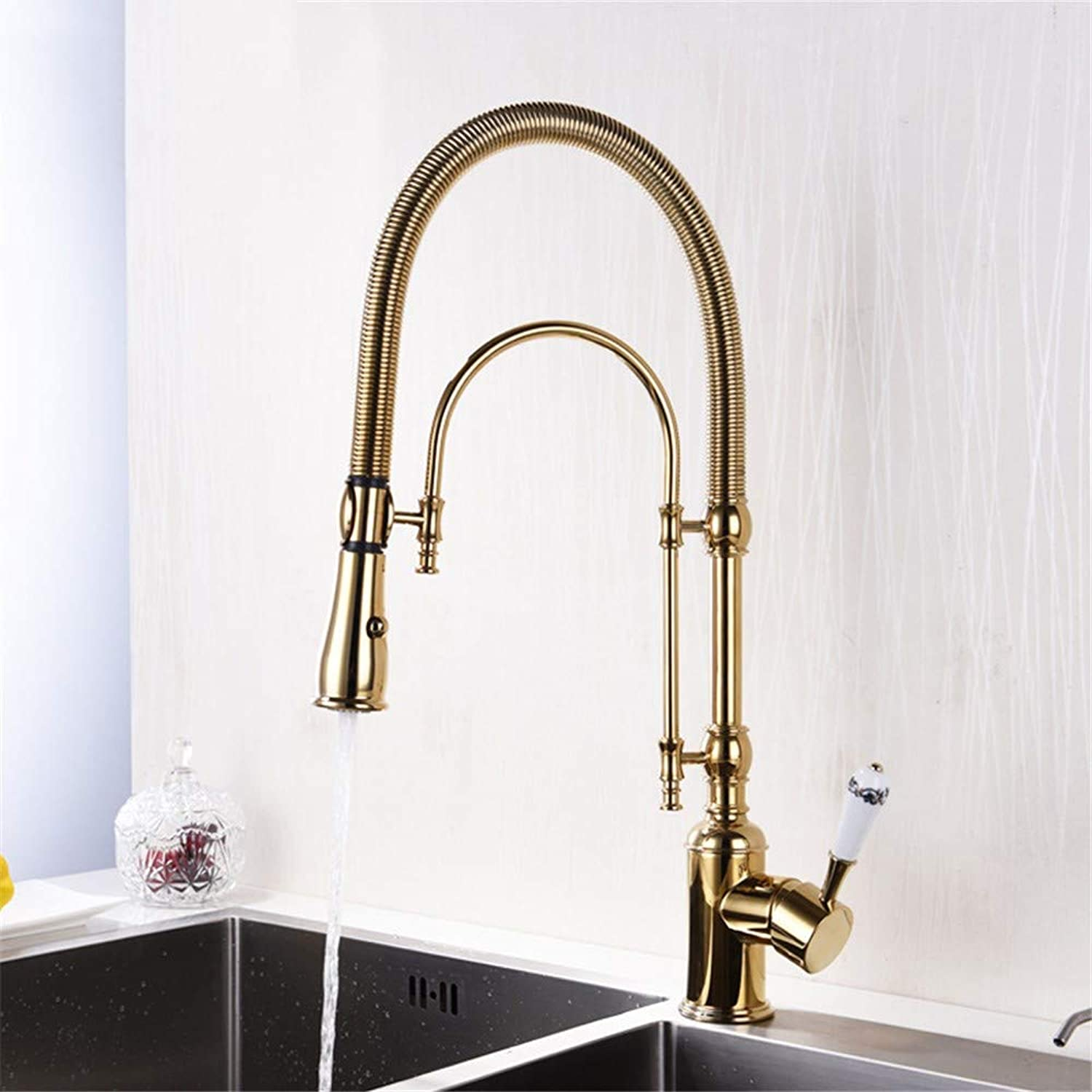 G-FT Hot and Cold Water tap Brass Faucet Stainless Steel Faucet Copper gold Spring Kitchen Faucet hot and Cold Sink Faucet Sink Faucet Double Outlet Faucet, A
