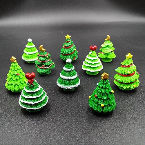 EMiEN 10 stück weihnachtsbäume Miniatur Ornament Kits Set für DIY fee Garten puppenhaus Dekoration, 5 Verschiedene Design, 2 Farben für jedes Design