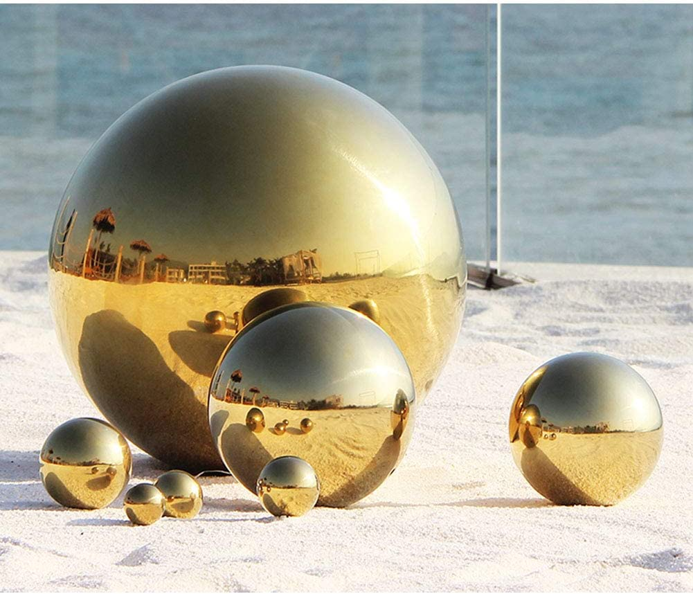 JforSJizT 6 inch Diameter Gold Golden Gazing Ball,Gold Golden Stainless Steel Polished Reflective Smooth Garden Sphere Globe Mirror,Colorful and Shiny Addition to Any Garden or Home