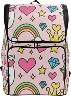 Laptop Backpack Pink Unicorn Hearts Rainbow College Backpack for Women Large 3D Back Pack