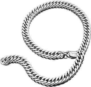 TIASRI Heavy Mens Necklace Stainless Steel Xxxtentacion Necklace Chain Double Cuban Miami Link Choker