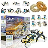 Blivings Solar Robot Kit, STEM Projects Set for Kids Ages 8-10 and Older, 14 in 1 - DIY Building Robotics Science Experiment Educational Toy for Boys & Girls with a Gift of Massage Ring Fidget