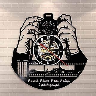 GVC Manos a la cámara Cámara fotográfica Reloj de Pared Fotógrafos Disco de Vinilo Reloj de Pared Fotografía Estudio Logotipo Camarógrafo Obturador Obsequios