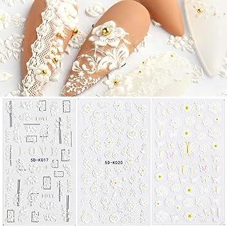 برچسب های 5 بعدی استریوسکوپی برجسته ناخن هنر برچسب های گل سفید برچسب ناخن پروانه ای خود چسب دار لوازم هنری ناخن لوازم ناخن طراحی ناخن برای زنان DIY تزئینات ناخن اکریلیک (3 ورق)