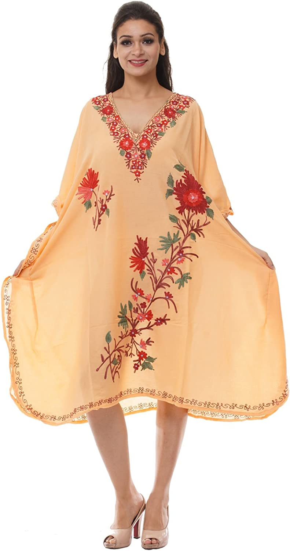 Odishabazaar Kashmiri Embroidered Womens Beachwear Cover up Swimsuit Swimwear Dress Caftan(uik-290)