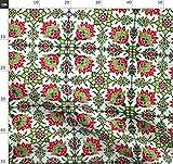 Altmodisch, Fliese, Weihnachten, Grün, Rot, Mexiko Stoffe