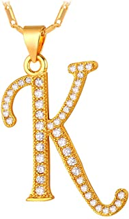 U7 Alphabet Initial Jewelry Women Girls Necklace with Letter A to Z Stainless Steel / 18K Gold Plated Iced Out CZ Crystal or Statement Sideways Initials Choker Pendant Necklace