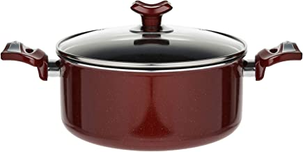 Pan Teflon Non Stick Glass Lid High Casserole Stewing Pot Hardena Brown Vegetable Pot 24cm