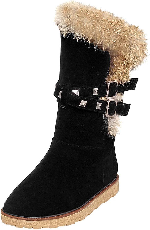 KemeKiss Women Outdoor Snow Boots Flat Mid Calf Winter Boots