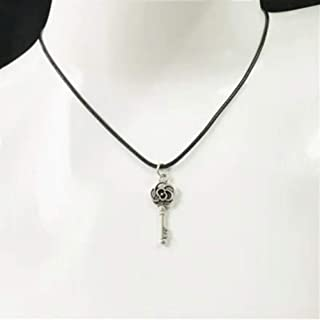 New Rose Key Pendant Flower Charm Black Necklace Silver Chain Women Jewelry Gift