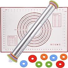 YASSUN 不锈钢可调节厚度滚动别针,4个可拆卸可调节厚度环和烘焙垫,适用于饼干、意大利面、披萨