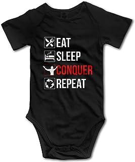 """Nuwcense Baby-Strampler mit Aufschrift """"Eat Sleep Conquer Repeat"""", kurzärmelig"""
